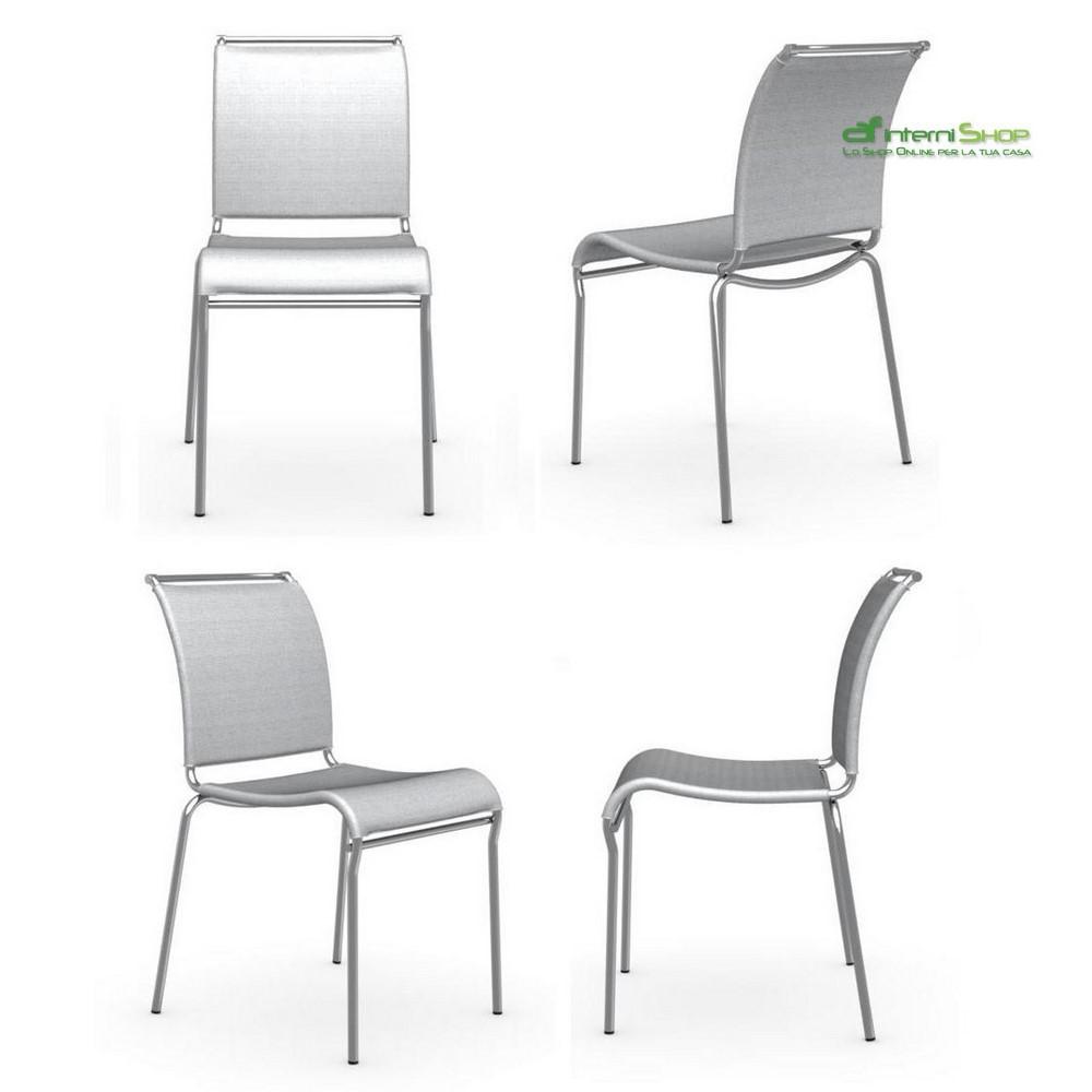 Set 4 sedie air cb 93 net grigio struttura cromo p77 for Sedie moderne grigie
